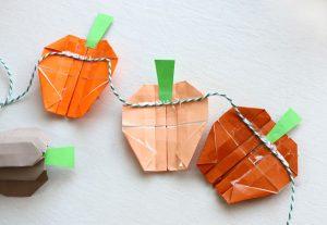 折り紙でハロウィンガーランドのかぼちゃの茎