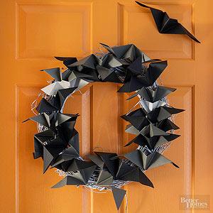 折り紙でこうもりのハロウィンリース