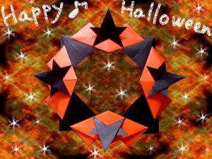 折り紙で星のハロウィンリース