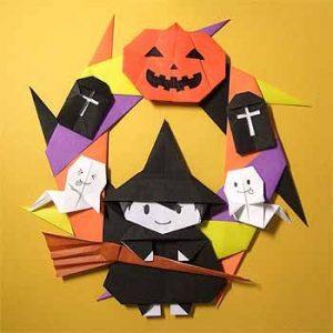 折り紙で魔女のハロウィンリース