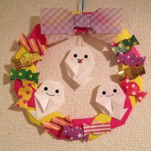 折り紙で可愛いハロウィンリース